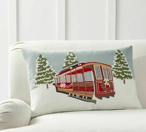 """Pottery Barn Christmas Snowfall Cable Car Embroidered Pillow Cover 16 x 26/"""""""
