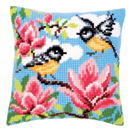 Vervaco PN-0145589 Blue Tits Cross Stitch Cushion Front Kit
