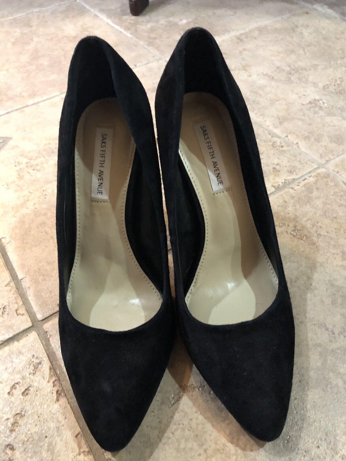 NWT SAKS SAKS SAKS Black Block Heels Size 7 8657b9
