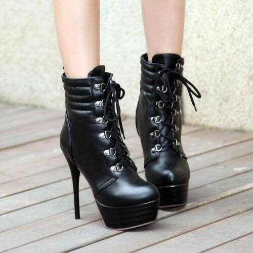 Retro Women High Heels Lace up Platform Shoes Lady Military Stiletto Ankle Boots