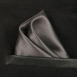 (t09) Grey Solid Men Silk Formal Pocket Square Hanky Wedding Party Handkerchief Um 50 Prozent Reduziert