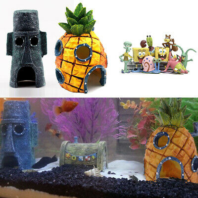 Pop Aquarium Ornament Fish Tank SpongeBob KRUSTY KRAB Resin House Decorations US