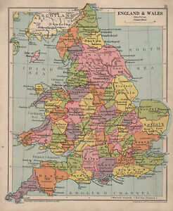 Atlas Map Of England.Details About 1928 Map England Wales Political