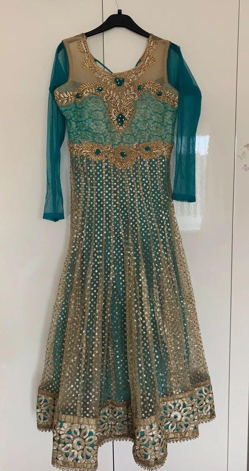 Indian Aqua Green Anarkali Dress