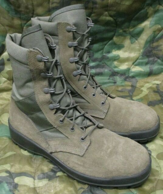 GENUINE US ARMY THOROGOOD SAGE GREEN HOT WEATHER SAFETY COMBAT BOOTS. UK 10.