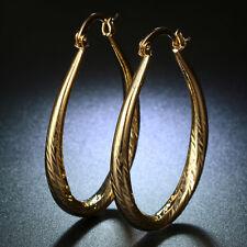 Women Fashion 18K Yellow Gold Filled Hoop Dangle Wedding Gift Earrings Jewelry
