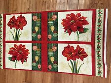 "Christmas Holiday Magic Floral  24 x 44"" cotton Fabric Panel quilt / sew"