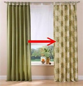 2x fertigdeko 135x225 vorhang schlaufen schal gardinen blickdicht gr n ebay. Black Bedroom Furniture Sets. Home Design Ideas