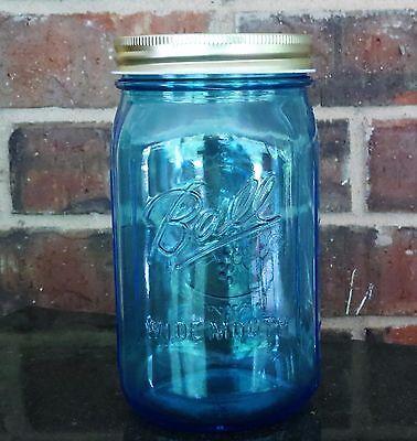 1 Blue Ball Elite Mason Jar Bank 32 Oz With Gold Lid Less Expensive