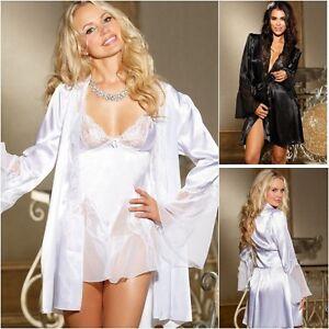 acheter populaire 38b2e 2f970 Détails sur Peignoir/robe, nuisette slip, string ensemble 3 pièces chemise  de nuit mariage cadeau B2- afficher le titre d'origine