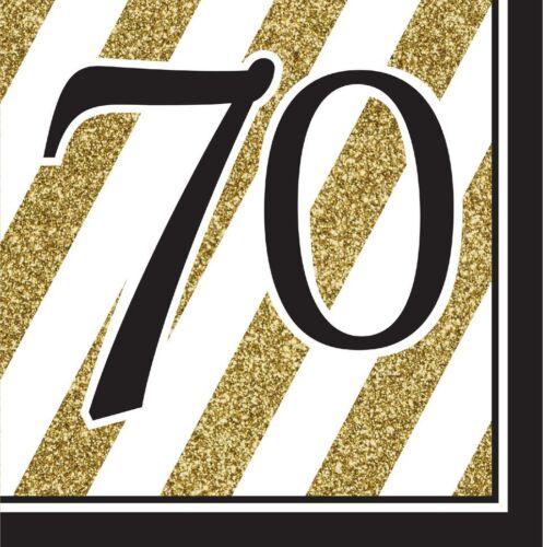 16 Negro y Dorado Fiesta 70th Servilletas 33cm 3ply 70 años Cumpleaños Vajilla Suministros
