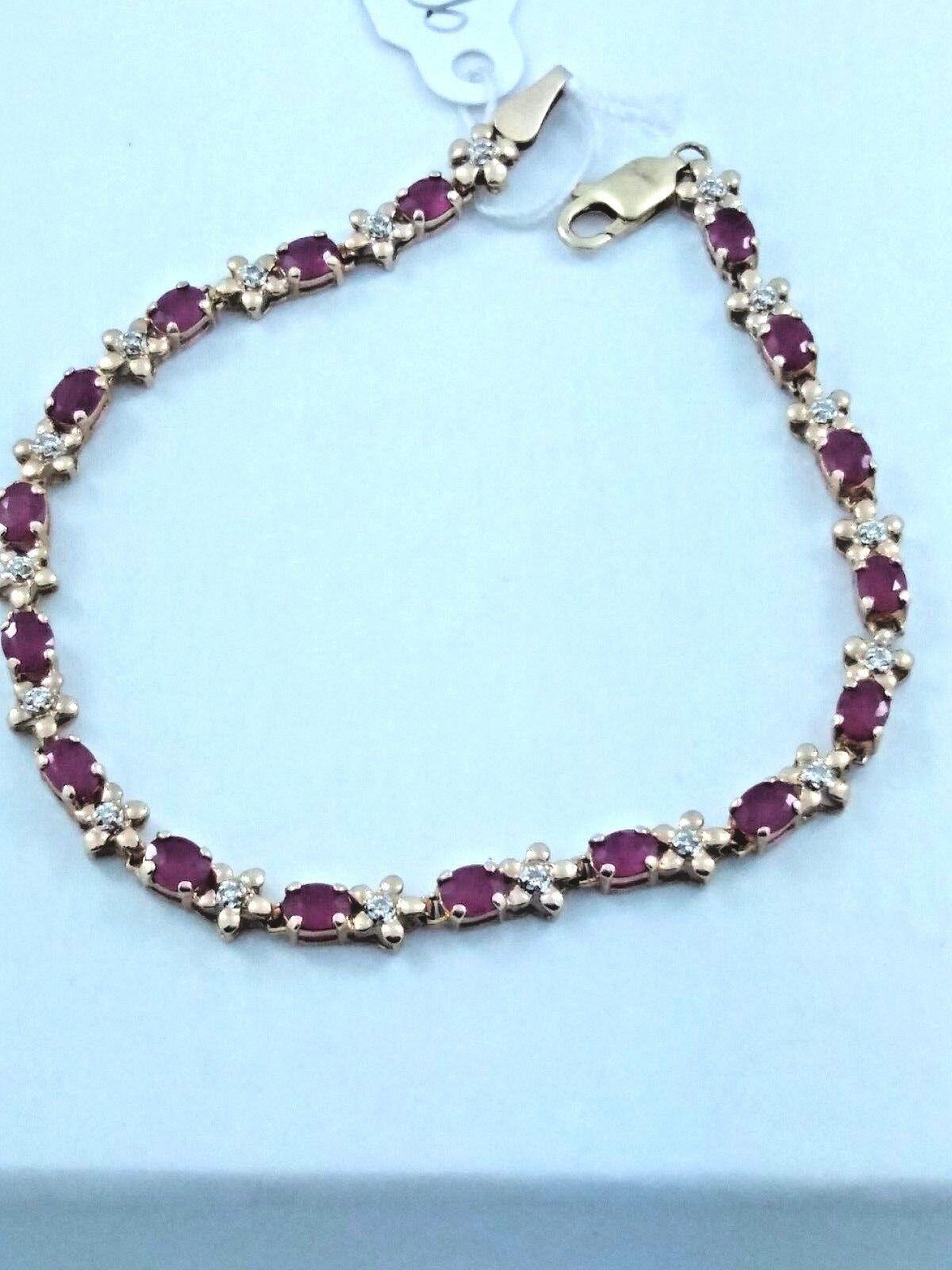 10 k Yellow gold Ruby Diamond Lady's Tennis Bracelet