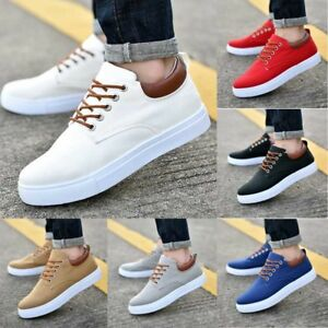 bad0ea9bbee36 Men s Canvas Sport Shoes Low Top Lace Up Sneakers Breathable Casual ...