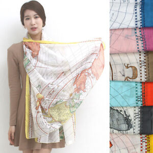 A524-WORLD-MAP-printed-SCARF-Gorgeous-Lovely-pattern-Shawl-hollywood-NEW-fashion
