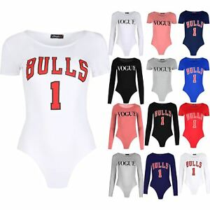 Womens Bulls 1 Print Bodysuit Ladies Jersey Varsity Usa Cap Sleeve ... 73fb2d10c6