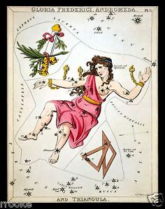 Andromeda Constellation Zodiac Star Chart Astronomy Astrology Art