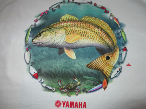 New Authentic Yamaha White Short Sleeve Tee Shirt with Red Drum and Lures