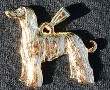 Afghan Hound Dog 24K Gold Plated Pewter Pendant Usa Made
