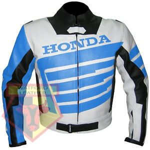 HONDA-9019-SKY-BLUE-MOTORBIKE-MOTORCYCLE-BIKERS-COWHIDE-LEATHER-ARMOURED-JACKET