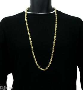 14K Gold Plated Necklace Rope Chain 36 Inch RUN DMC Dookie Big 8mm