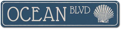 Metal Seashell Boulevard ENSA1002239 Custom Beach Street Sign Ocean Blvd Sign