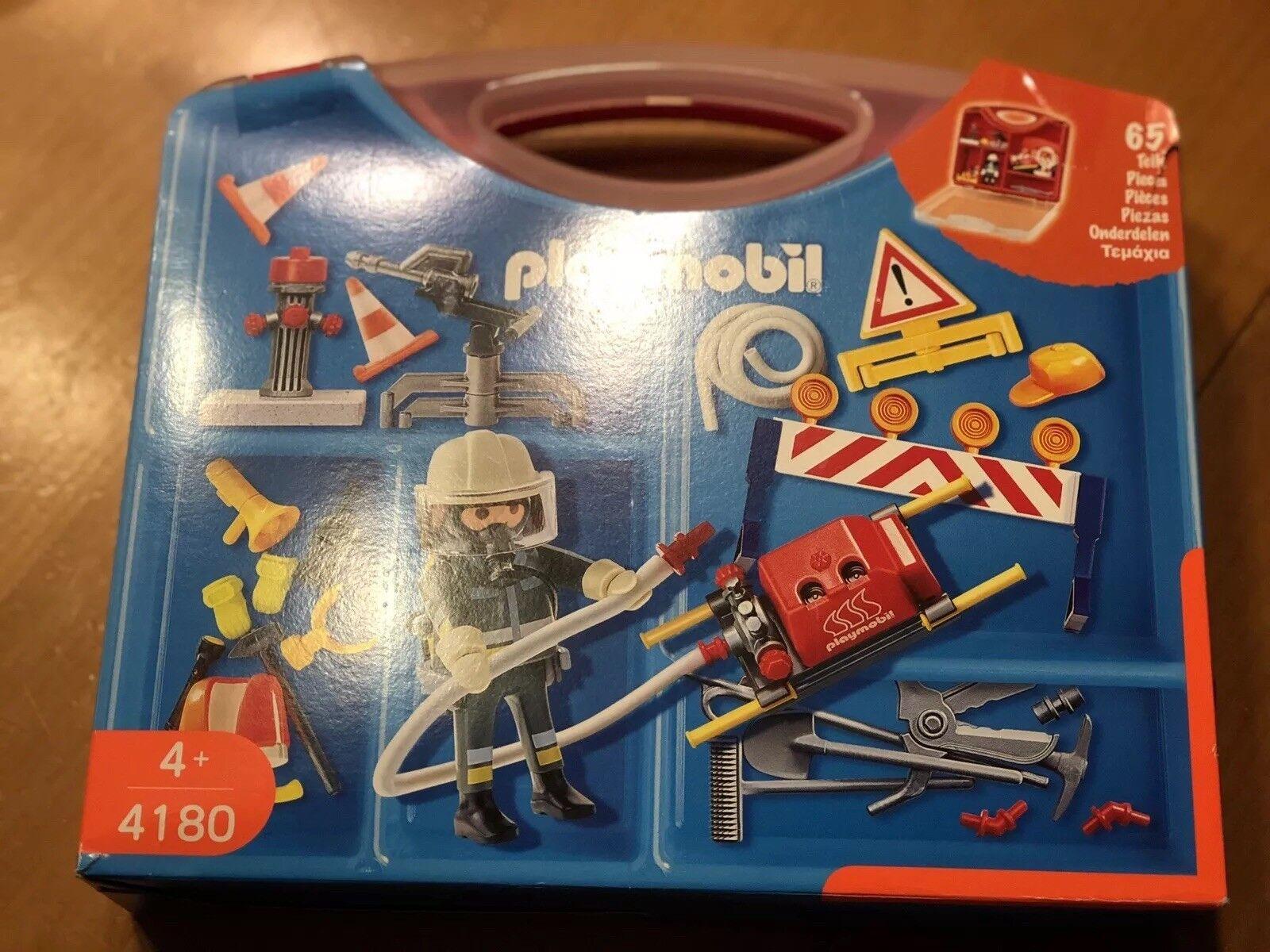 Playmobil 4180 4096 Playmobil Feuerwehr Sortierbox Wagen Hubschrauber Anhänger