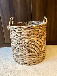 Grey-Brown-Round-Large-Rattan-Wicker-Hand-Made-Storage-Baskets-Home-French-Chic