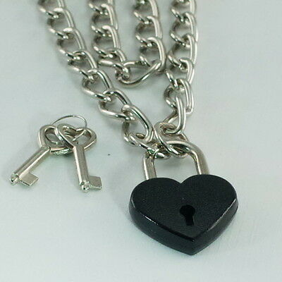 "Heart Padlock Lock Pendant Charm  Choker Necklace -Black Color 19.5""(NEW)"
