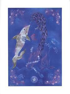 MERMAID BLUE DOLPHIN KISS MORNING GLORY GARDEN FLOWER W/ POEM HAND SIGNED PRINT