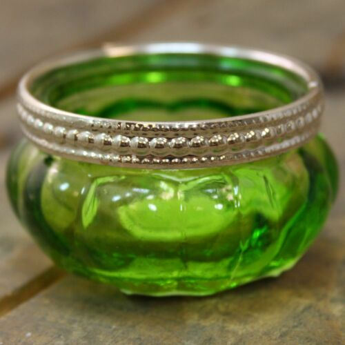 Bright Coloured Glass Ribbed Tealight Candle Holder Pot Green