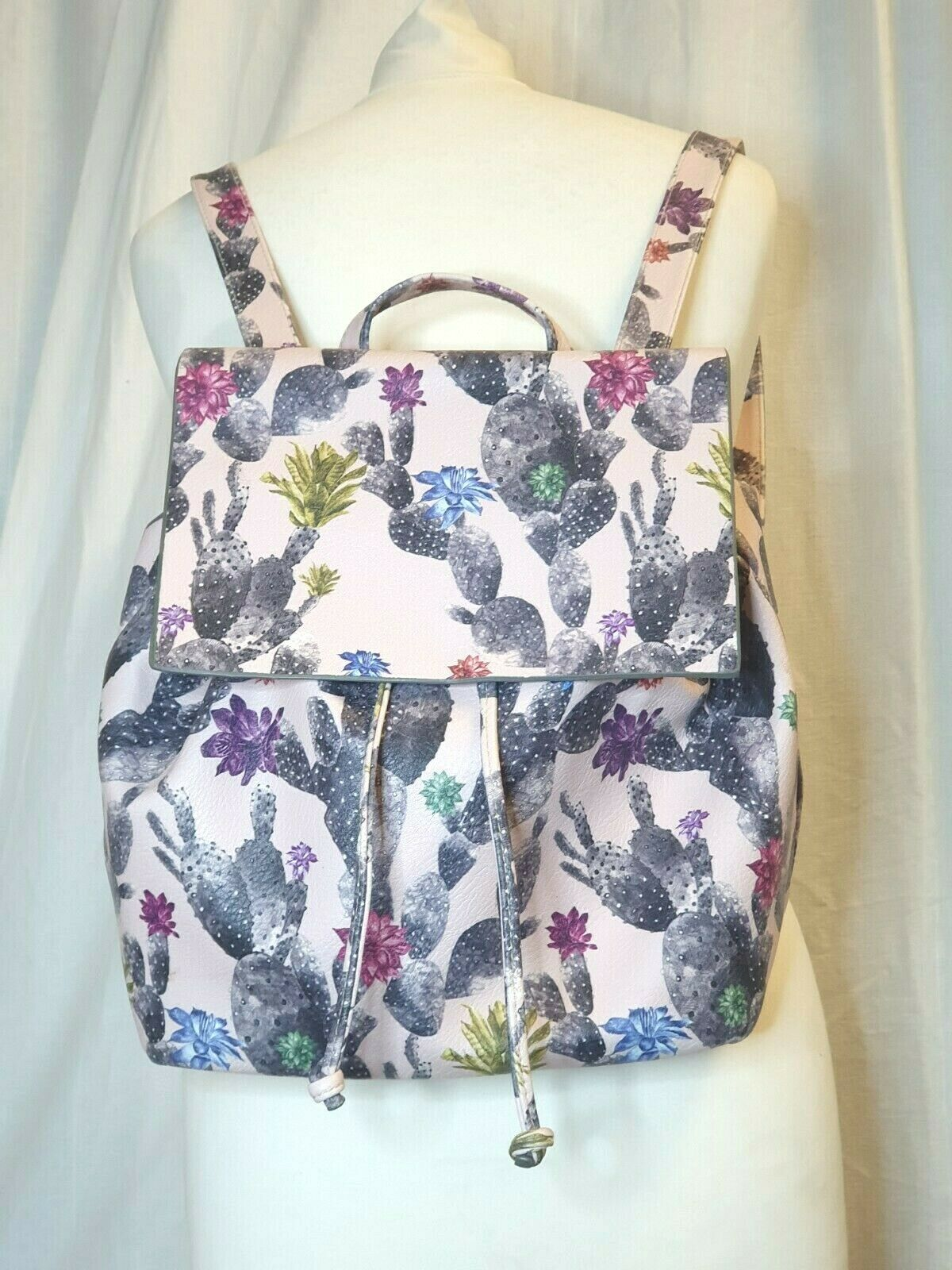 PAPERCHASE Rucksack Backpack - Pale Pink Cactus Print - Good Size - Long Straps