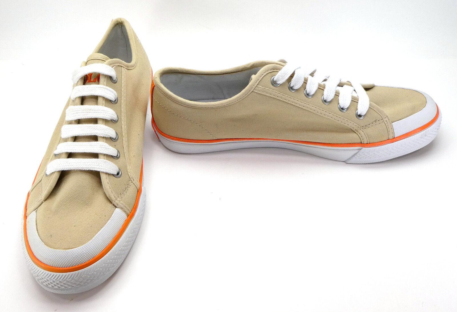 Polo Ralph Lauren shoes Chancery Canvas Low Khaki Tan orange Sneakers Size 10.5