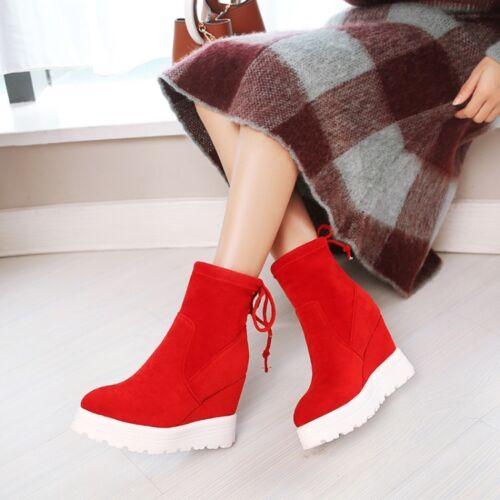 Bottines femme en daim synthétique Haut Compensé Talons Bottines à Enfiler Chaussures Compensées