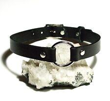 Black Leather O-Ring Plain Choker Necklace Gothic punk biker hero Handmade UK