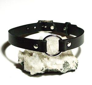 Black-Leather-O-Ring-Plain-Choker-Necklace-Gothic-punk-biker-hero-Handmade-UK