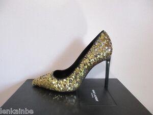 YSL Yves Saint Laurent Paris 105 Sequin Evening Pumps Shoes 39 9  c298fe83d03f