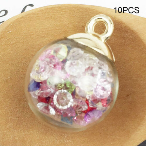10Pcs Christmas Crystal Glass Ball Charms Jewelry Earrings Necklace Making Penda