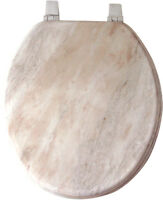 OFF WHITE MARBLE LOOK WOOD TOILET SEAT, STANDARD ROUND
