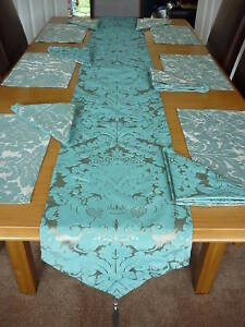 Image is loading CHRISTMAS-6-PLACE-TABLE-RUNNER-SET-MATS-&- & CHRISTMAS 6 PLACE TABLE RUNNER SET MATS \u0026 NAPKINS TEAL/SILVER DAMASK ...