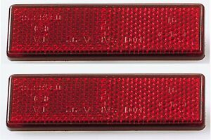 2-rote-Rueckstrahler-Reflektoren-Katzenaugen-KFZ-eckig-red-reflector-rectangular