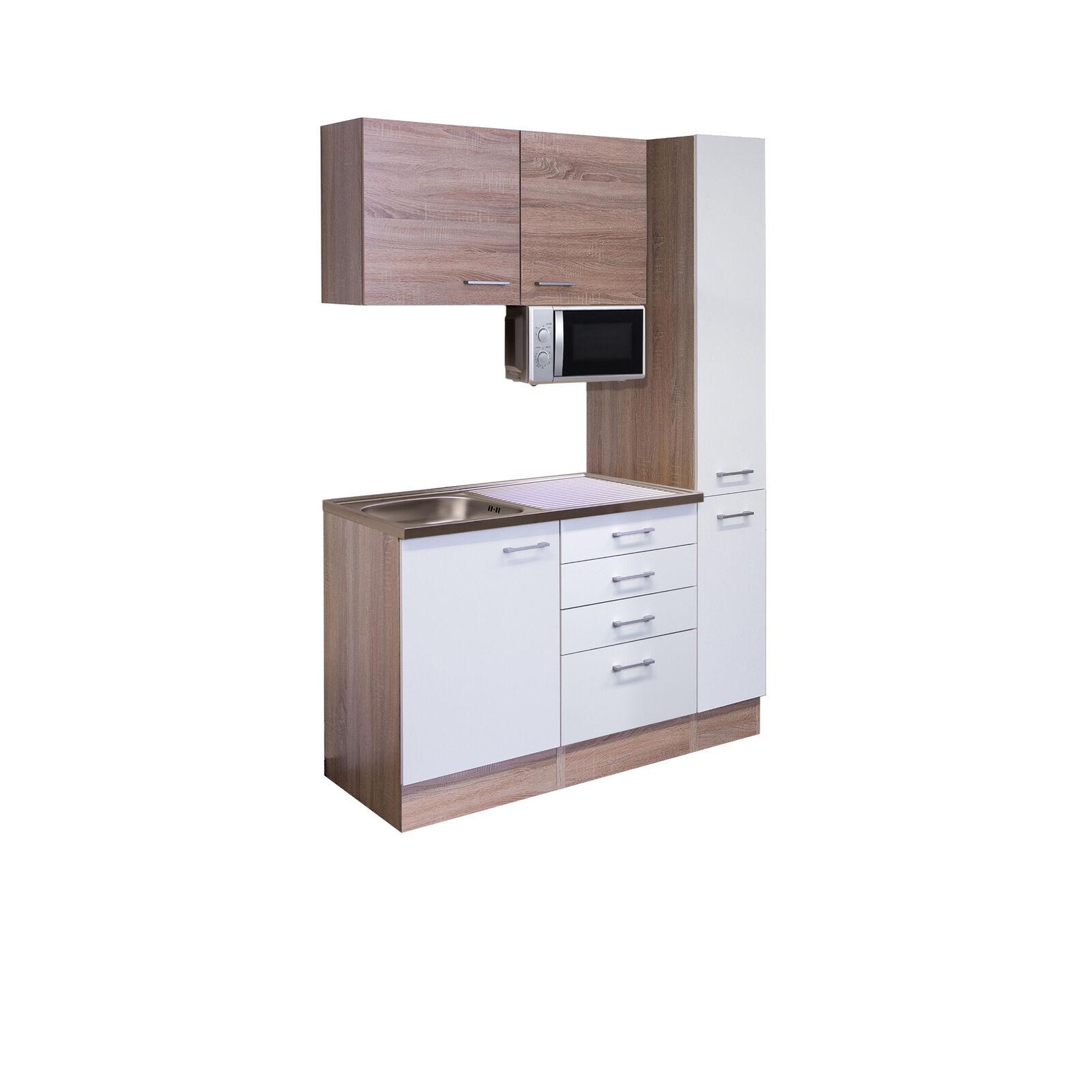 Büroküche Teeküche Miniküche Singleküche Singleküche Singleküche mit Spüle Mikrowelle Küche 130 cm weiss 72d2a3