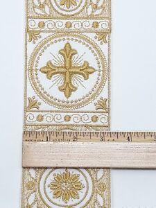 Vintage-Orphreys-Francese-Croce-Design-8-3cm-Larghezza-Oro-su-Bianco-Fascia-0-9m