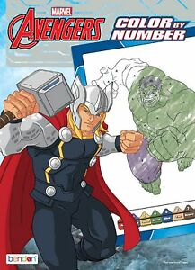 Details About New Marvel S Avengers 48 Page Color By Number Coloring Book W Color Guide
