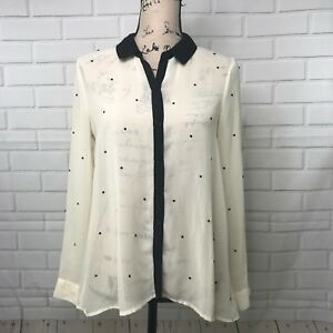 LC-Lauren-Conrad-Blouse-Sheer-Button-Down-Shirt-Cream-Black-Gems-Top-Women-039-s-XS