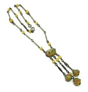 Art-Deco-Yellow-Venetian-Glass-Necklace-Wedding-Cake-Dangle-Necklace