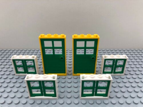 Lego Doors x 2 /& Windows x 4 Yellow Green White 60596 60594 House Building