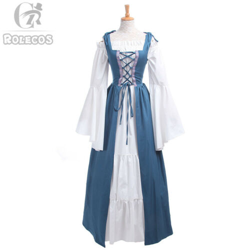 Vintage Women Renaissance Medieval Gown Wench Chemise Cosplay Costume Dress