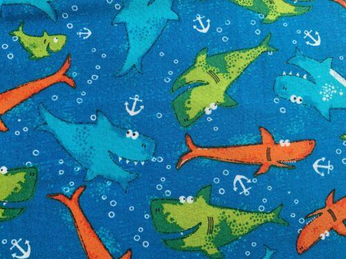 Tela Azul Náutica Tiburones Tela De Algodón Tela tela costeras Niños Océano
