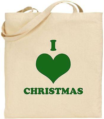 I Love Weihnachten Groß Baumwolle Einkaufstasche Bag Geheim Santa Cool