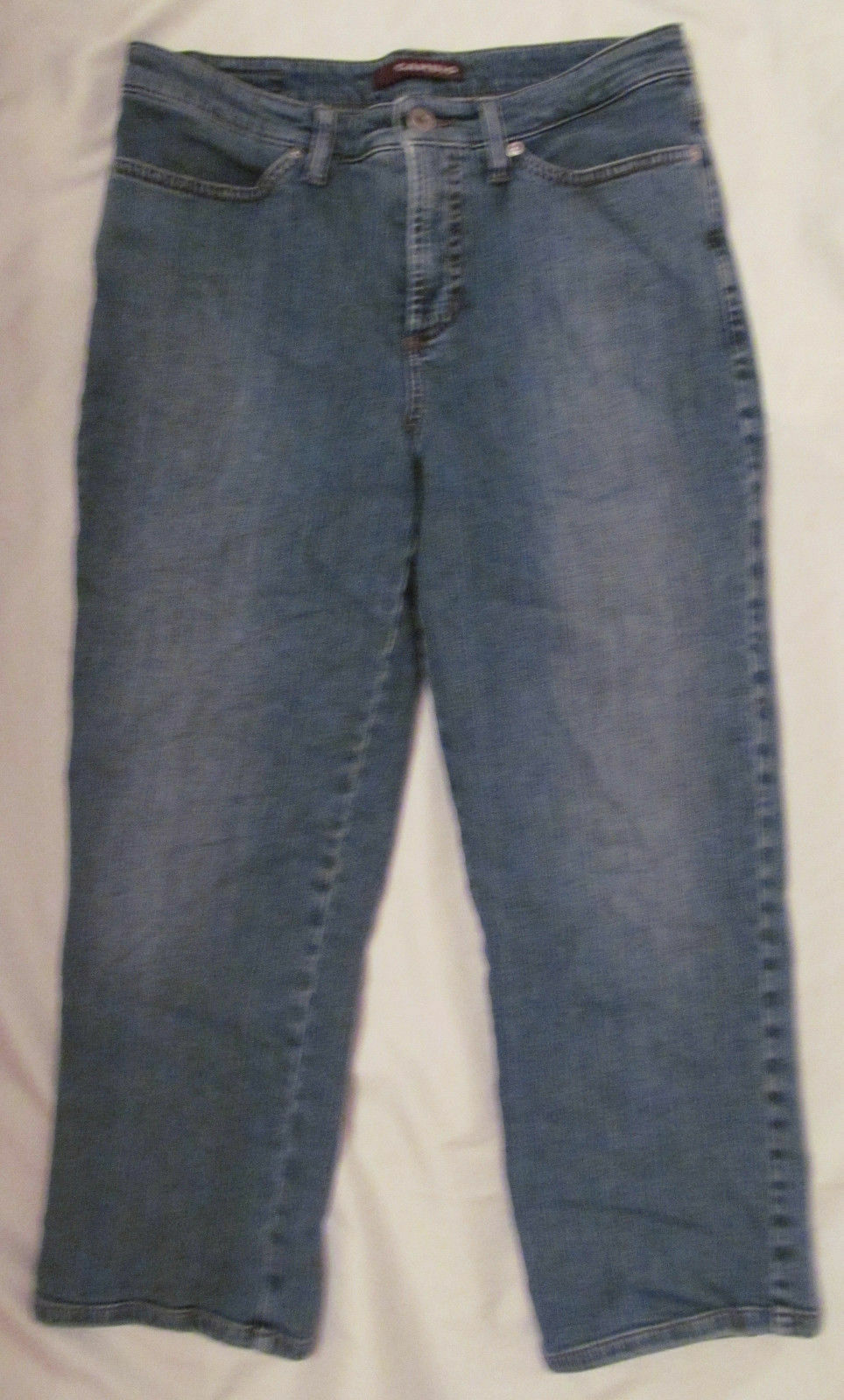 CAMBIO JESSICA stretchy high waisted slim capri crop aged look jeans US 8